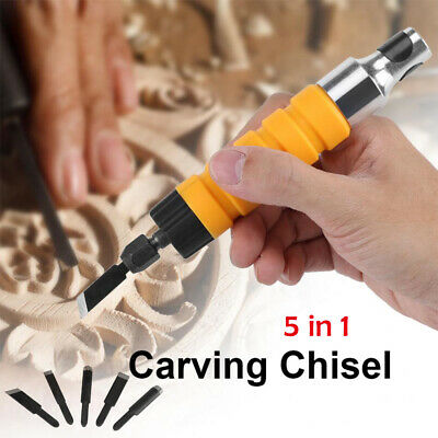 Electric Wood Carving Engraving Hand Chisel Tool Woodworking With Free 5 Chisels • 14.39£