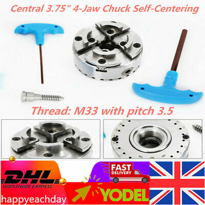 Central 3.75   Self-centering 4-Jaw Chuck For Turning Machines With M33 Thread • 87£