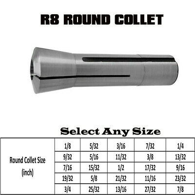 Milling Machine R8 Round 1/8 To 7/8 Collet Drawbar Thread 7/16- 20 For Lathe • 11.60£