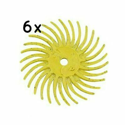 Radial Bristle Discs Yellow 80 Grit Coarse 19mm Jewellery Tool Polishing 6 Pack • 7.87£