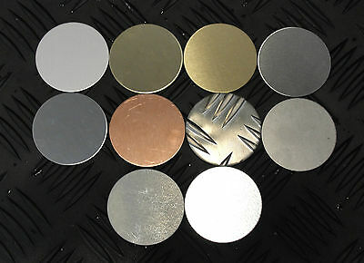Qty 2 - BLANK DISCS 60mm Diameter - Various Finishes Metal Brass Stainless Steel • 5.01£