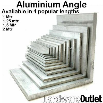ALUMINIUM EXTRUDED ANGLE - 1000 Mm To 2000 Mm Long - Various Sizes & Lengths • 6.05£