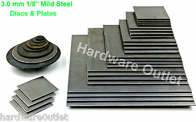 3.0mm MILD STEEL BLANK DISCS Or PLATES Guillotine & Laser Cut - UK Manufactured • 3.63£