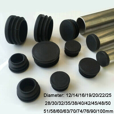 Round Plastic Black Blanking End Cap Caps Tube Pipe Inserts Plug Bung 12~100mm • 21.83£