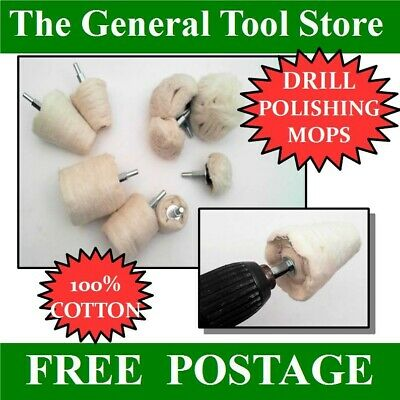 Alloy Wheels Cotton Drill Mounted Polishing Mops Or Wheels Choice Shape & Size • 6.55£