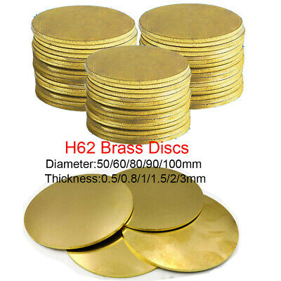 H62 Brass Discs Round Sheet  Thick 0.5 0.8 1- 3mm Metal Solid Blanks OD 50-100mm • 4.41£