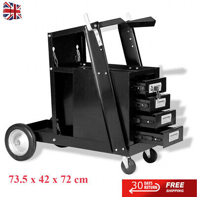 Portable Rolling Steel Welding Cart W/4 Drawer Tool Storage Organisation Cabinet • 115.41£