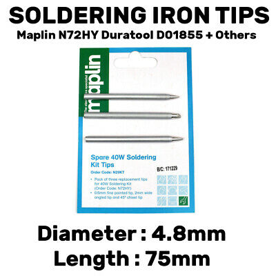 3 X Spare Tips Bits For Maplin N72HY 40W Soldering Iron N29KT Duratool D01855 • 3.99£