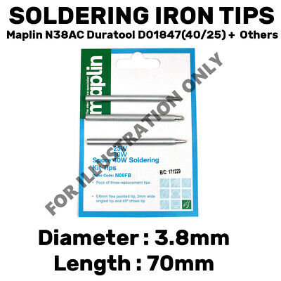 3 Pack Assorted Soldering Iron Tips Bits Maplin N38AC Duratool D01847-40 +25w • 3.29£