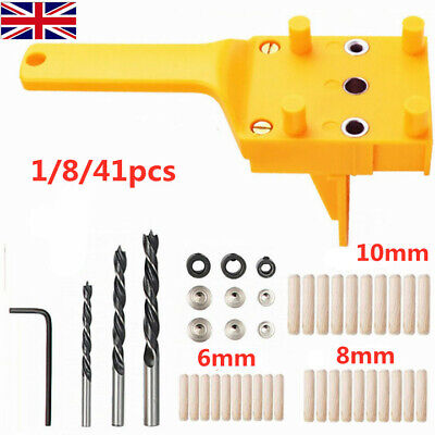 Handheld Woodworking Guide Wood Dowel Drilling Hole Saw Doweling Jig Drill Kits • 8.09£