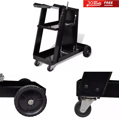 Steel Welding Cart Trolley With 3 Shelves Workshop Organiser With 2 Metal Chains • 41.39£