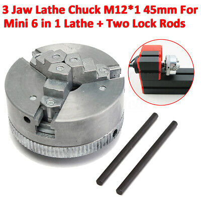 3 Jaw Self-Centering Lathe Chuck M12*1 45mm For Mini 6 In 1 Lathe +Two Lock  • 28.99£
