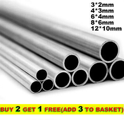 250mm 304 Stainless Steel Capillary Tube Pipe OD 3-12mm Thick 0.5/1mm Rod Stick • 4.61£