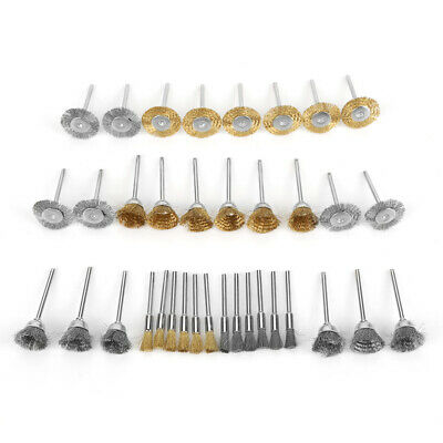 36pc Brass/Steel Wire Brush Set Pen Flat Cup Shaped Polishing Wheel Rotary Tools • 9.67£