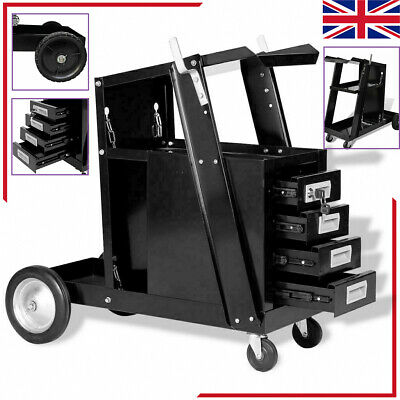 Welding Cart Black Trolley With 3 Shelves/Drawers Workshop Organiser Cutter Tank • 113.78£