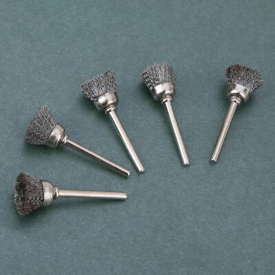 New 10 Pcs Mini Wire Brush Brushes Cup Wheel For Grinder Or Drill Diameter 3mm • 5.18£