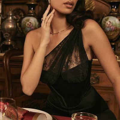 Lace One-shoulder Perspective Gold Velvet Fish Bone Exposed Sexy Corset L6C0 • 12.03£